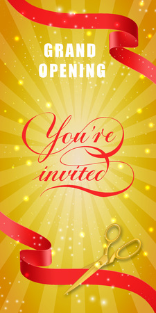 Grand opening, you are invited vertical banner design with gold scissors cutting red ribbons on yellow glittering background. Lettering can be used for invitations, signs, posters.