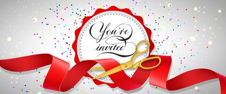 あなたは紙吹雪、白い円と赤いリボンを切断金のはさみでお祝いのバナーデザインを招待されています。テンプレートは、看板、お知らせ、ポスタ  イラスト・ベクター素材