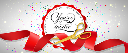You are invited festive banner design with confetti, text on white circle and gold scissors cutting red ribbon. Template can be used for signs, announcements, posters.