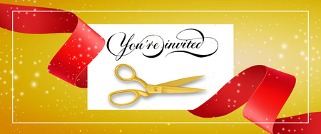 You are invited glittering banner design with frame, text on white card, gold scissors and red waved ribbon on yellow background. Template can be used for signs, announcements, posters. Illustration