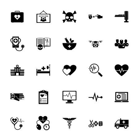 Icon set of hospital, pharmacy and diagnostics signs. Clinic, treatment, examination.