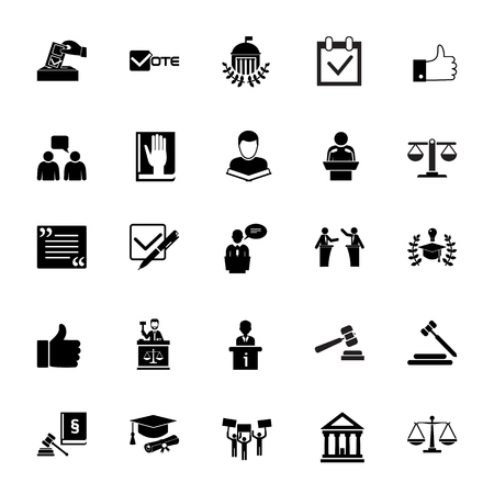 Icon set of jurisprudence signs. Court, juridical system, election campaign. Stock Illustratie