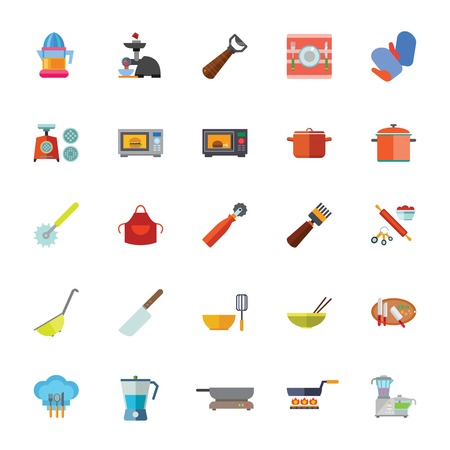 Icon set of kitchen tool and appliances. Kitchenware, food preparation, domestic equipment.