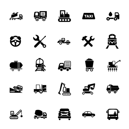 Icon set of mode of transport. Vehicle, public and industrial transport, logistics. Transportation concept.