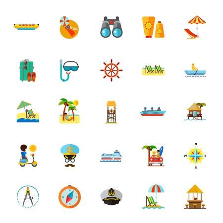 Icon set of summer resort symbols. Vacation, beach, tropical resort. Seaside concept Vector illustration. Illustration