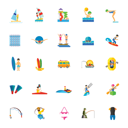 Icon set of water activities. Water entertainments, hobby, professional sport.