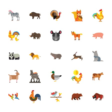 Icon set of wild and farm animals. Zoo, wildlife, species diversity. Animals concept. Vectores