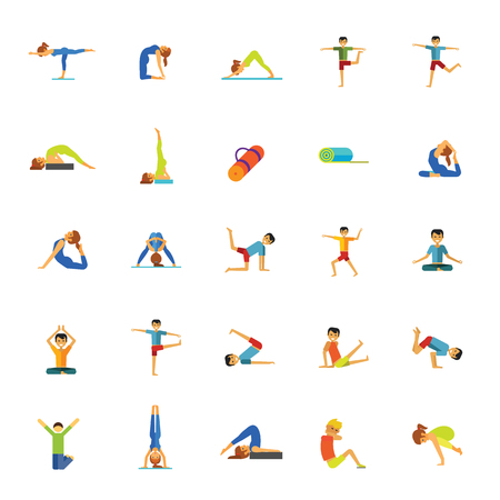 Icon set of man and woman practicing yoga poses. Relaxation exercise, meditation, pilates. Ilustração