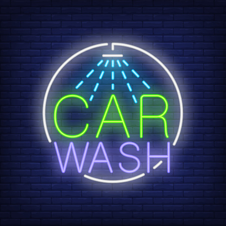 Car wash neon text and shower icon Stock Illustratie