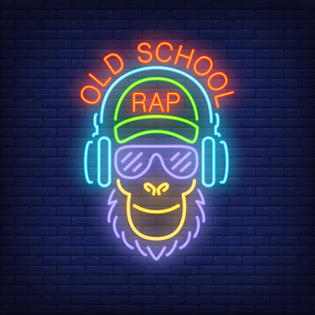 Old school rap neon text with cool monkey in glasses and headphones. Illustration
