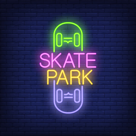 Skate park neon text on skateboard icon. Çizim