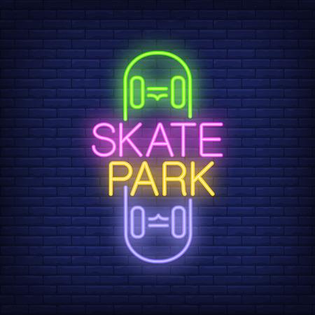 Skate park neon text on skateboard icon. Vectores