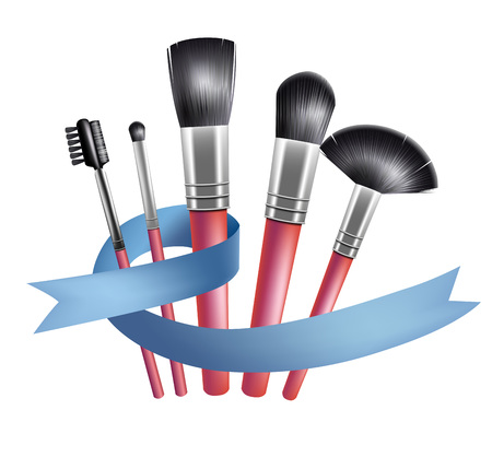 Set of makeup brushes and blue ribbon. Accessory, tool, complexion. Beauty concept. Illustration