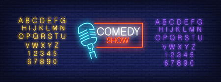 Neon alphabet and Comedy Show lettering with mike in frame on brick background. Show, nightclub, comedy club. Advertisement concept. For signboards, template design, banners Illustration