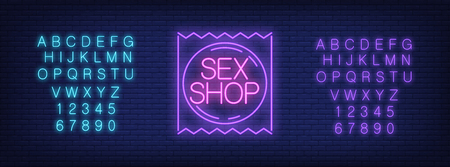 Neon alphabet and Sex Shop emblem over brick background. Erotica, entertainment club, nightlife. Advertisement concept. For signboards, template design, banners  イラスト・ベクター素材