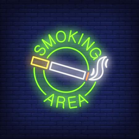 Een neonreclame voor een rookruimte met een sigaret met rook in de ronde.
