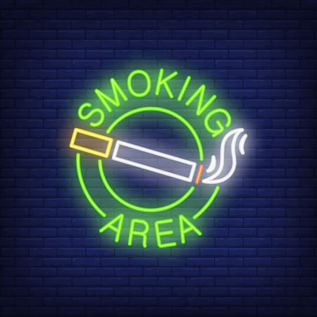 A smoking area neon sign with cigarette with smoke in round.