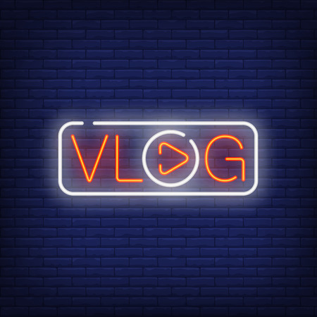 Vlog neon sign with bright text with letter O in shape of play button. Stock Illustratie