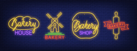 Bakery shop house neon signs collection. Neon sign, night bright advertisement, colorful signboard, light banner. Vector illustration in neon style. Illustration