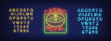 Casino royal and neon alphabet sign set.
