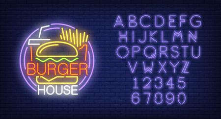 Burger house and alphabet neon sign set.