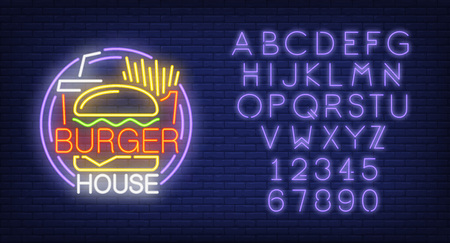 Burger house and alphabet neon sign set.