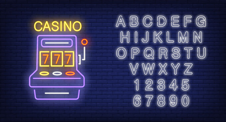 Casino and alphabet neon sign set. Slot machine with jackpot and white letters and numbers. Stock Illustratie