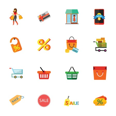 Sale icon set. Can be used for topics like shopping, spending money, consumerism, supermarket. Illustration