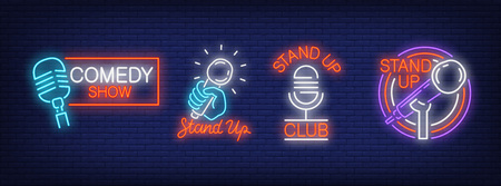Stand up comedy show neon signs collection. Neon sign, night bright advertisement, colorful signboard, light banner. Vector illustration in neon style. 向量圖像