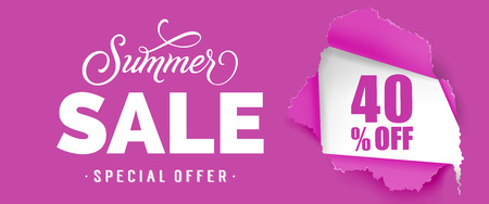 Summer sale Special offer Forty percent off lettering. Purple banner with ripped round hole. Handwritten text, calligraphy. Can be used for greeting cards, posters and leaflets