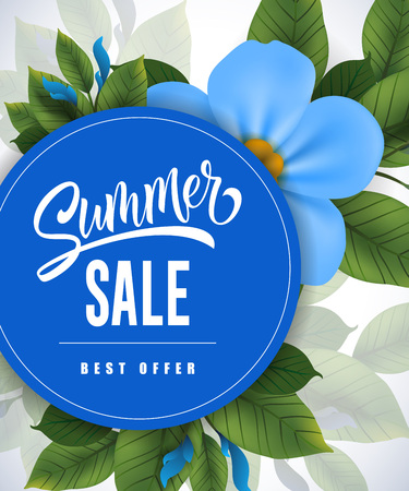 Summer sale Best offer lettering. Shopping inscription with summer flower. Handwritten text, calligraphy. Can be used for greeting cards, posters and leaflets Vettoriali