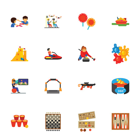 Pastime icon sets. Board games, videogames, entertainment. Games concept. For topics like hobby, leisure, sport Stock Photo