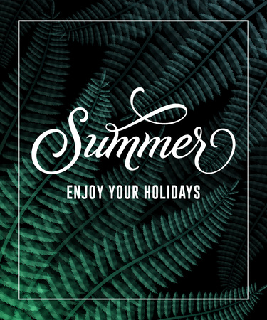 Summer enjoy your holidays lettering in frame with leaves. Summer offer or sale advertising design. Handwritten and typed text, calligraphy. For brochure, invitation, poster or banner. 写真素材 - 100501426