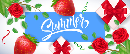 Summer greeting in blue frame with strawberries, roses and gift boxes on white background. Handwritten text, calligraphy. Seasonal sale concept. For posters, leaflets and brochure