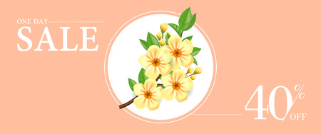 One day sale forty percent off banner design with yellow blooming twig in round frame on beige background. Typed text. Can be used for labels, flyers, signs, posters.