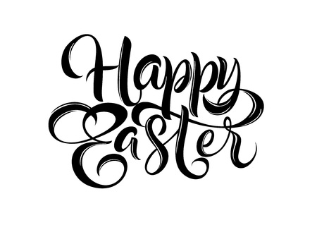 Happy Easter lettering. Easter design element. Handwritten text, calligraphy. For greeting cards, posters, leaflets and brochures. Vettoriali