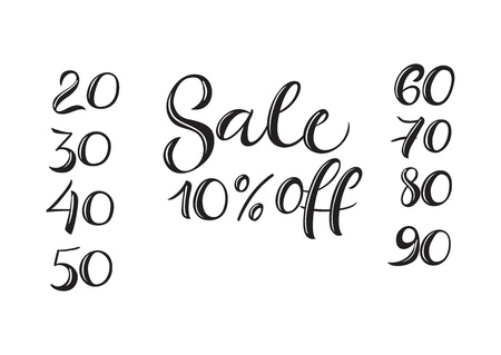 Sale Ten Percent Off lettering. Sale design element. Handwritten text, calligraphy. For flyers, posters, leaflets and brochures.