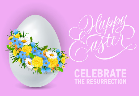 Happy Easter celebrate the resurrection lettering with egg in flower wreath. Greeting card, postcard, invitation. Easter holiday concept. Can be used for posters, leaflets and brochure