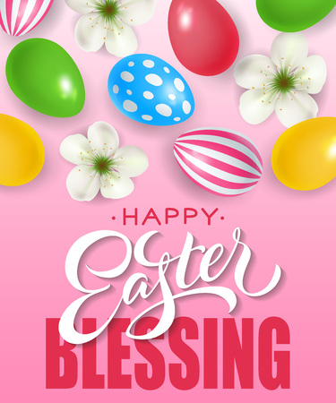 Happy Easter blessing lettering with ornate eggs and flowers on gradient pink background. Greeting card, postcard, invitation. Easter holiday concept. Can be used for posters, leaflets and brochure