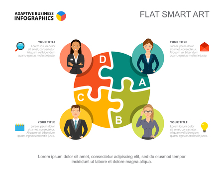 Business infographics with jigsaw chart and team icons. Editable presentation slide template, flat smart art. Data for business staff, teamwork, human resources