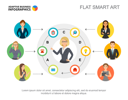 Presentation slide with company staff information. Editable template, flat smart art. Business data for human resources, management, employment concept