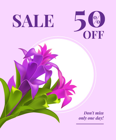 Sale fifty percent off, do not miss only one day flyer design with violet flowers and white circle on lilac background. Typed text can be used for labels, posters, signs, banners. Ilustrace