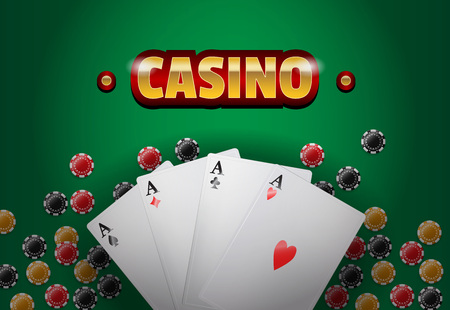 Casino lettering, four aces and chips. Casino business advertising design. For posters, banners, leaflets and brochures. Illustration