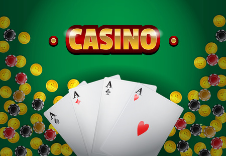 Casino lettering, golden coins, four aces and chips on green background. Casino business advertising design. For posters, banners, leaflets and brochures. Illustration