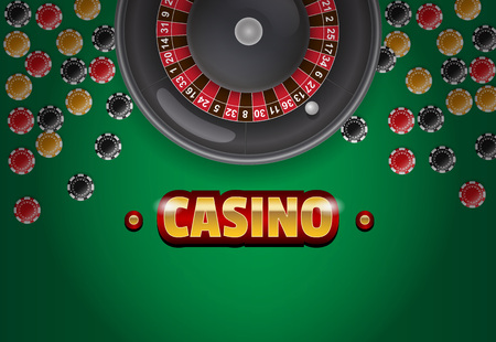 Casino lettering, roulette and chips on green background. Casino business advertising design. For posters, banners, leaflets and brochures.