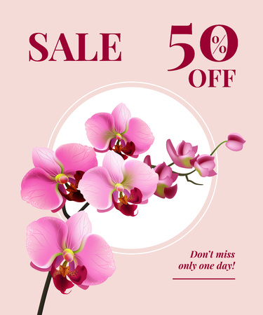 Sale fifty percent off, do not miss only one day poster design with pink flowers on white circle. Typed text can be used for labels, signs, banners. 일러스트