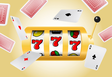 Lucky seven slot machine and flying aces on yellow background. Casino business advertising design. For posters, banners, leaflets and brochures. Illustration