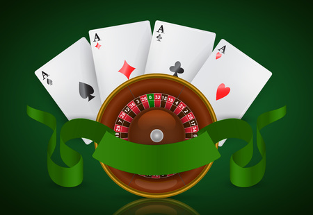 Casino roulette, four aces and green ribbon. Casino business advertising design. For posters, banners, leaflets and brochures. Illustration