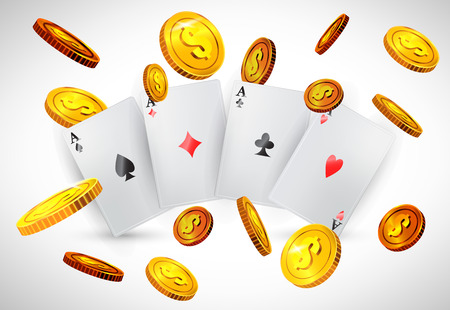 Four aces and flying golden coins. Casino business advertising design. For posters, banners, leaflets and brochures. Illustration
