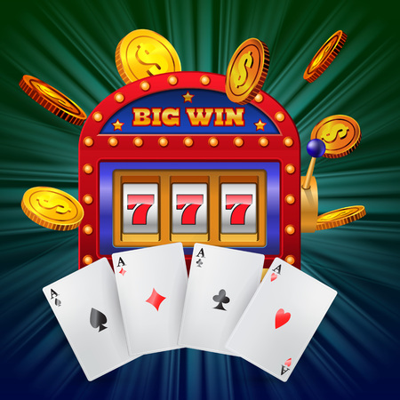 Big win lettering on slot machine, four aces and flying golden coins. Casino business advertising design. For posters, banners, leaflets and brochures.